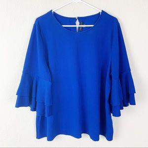 Lane Bryant cobalt blue bell sleeve top